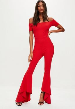 Tall Red Frill Hem Bardot Jumpsuit