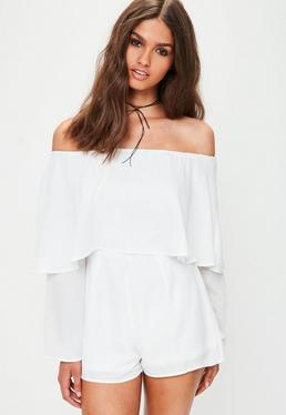 Tall White Double Layer Playsuit