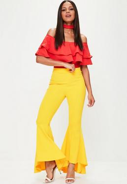 Tall Yellow Asymmetric Flare Trousers