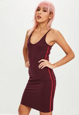 Tall Burgundy Side Stripe Bodycon Dress