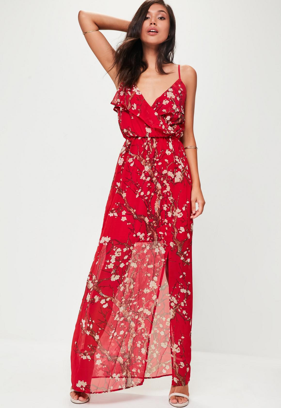 Tall Red Floral Printed Maxi Dress | Missguided