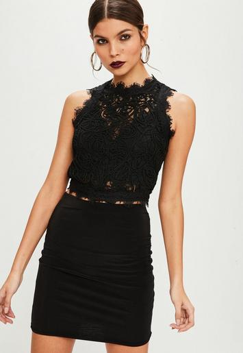 Tall Black Cornelli Lace Sleeveless Crop Top Missguided
