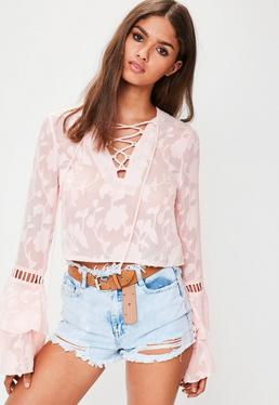 Tall Pink Lace Up Flare Sleeve Crop Top