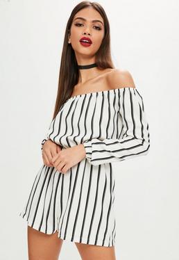 Tall White Stripe Bardot Playsuit