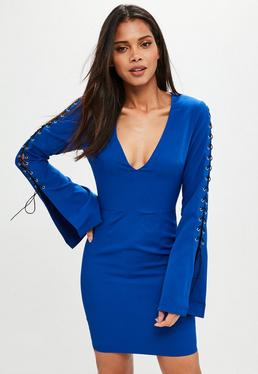 Tall Blue Lace Up Dress