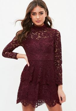 Tall Burgundy Lace Double Layer Dress