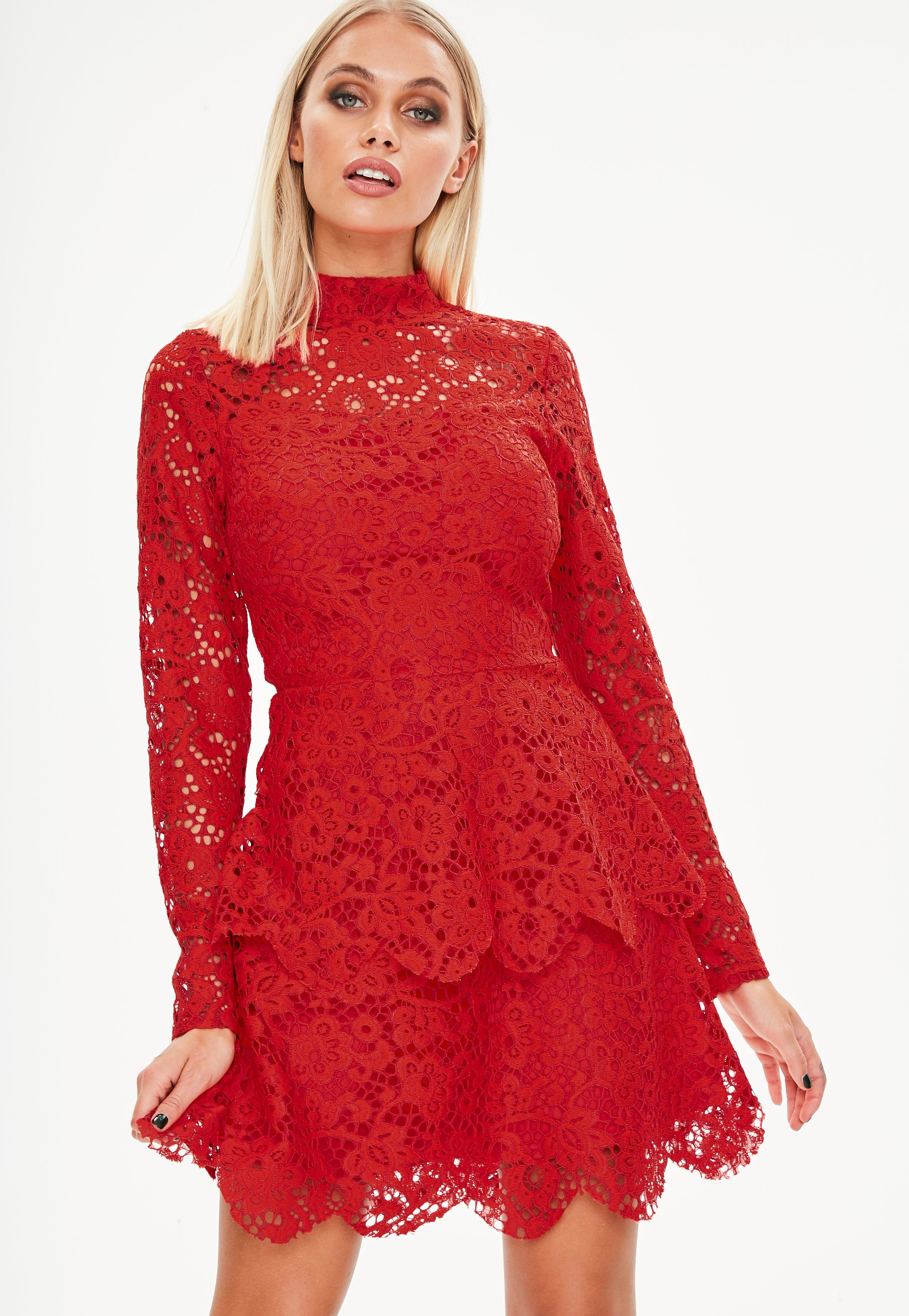 Tall Red Lace Frill Dress | Missguided