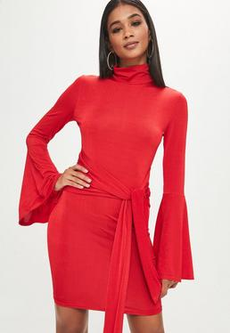 Tall Red Roll Neck Flare Sleeve Dress