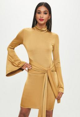 Tall Yellow Roll Neck Flare Sleeve Dress