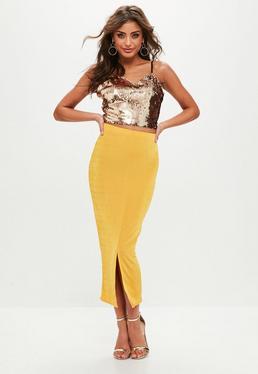 Tall Yellow Slinky Split Front Midi Skirt
