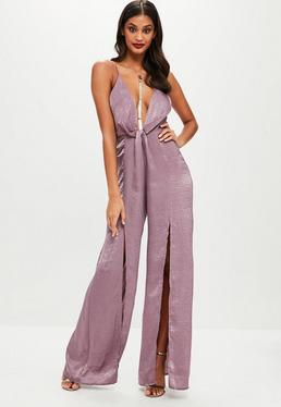 Tall Purple Hammer Satin Jumpsuit