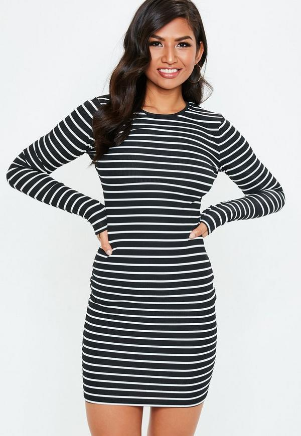 Tall Black Striped Long Sleeve Midi Dress by Missguided