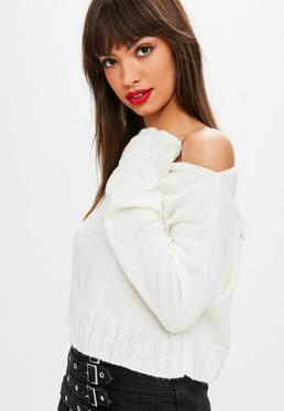 Tall White Slouchy Sweater