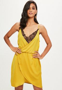 Tall Mustard Yellow Hammered Satin Lace Insert Dress