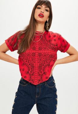 Tall Red Printed Handkerchief T-shirt