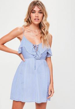 Tall Blue Frill Striped Dress