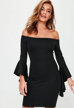 Tall Black Bardot Frill Sleeve Dress