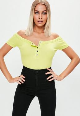 Tall Yellow Rib Bardot Bodysuit