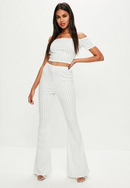 Tall White Pin Stripe Flare Trousers
