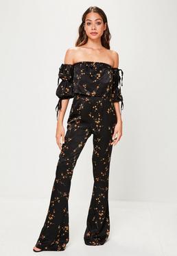 Pantalón tall con flores en negro