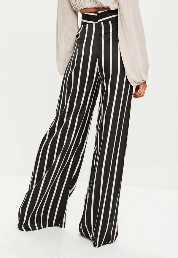 Tall Black Striped Wide Leg Pants Missguided