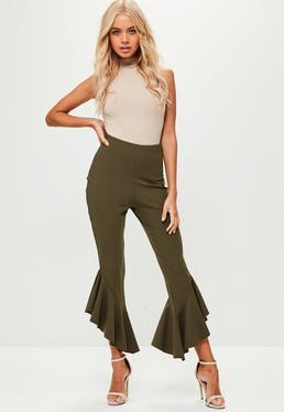 Spodnie z falbanami w kolorze khaki dla wysokich kobiet