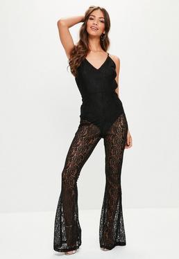 Tall Black Cami Lace Jumpsuit