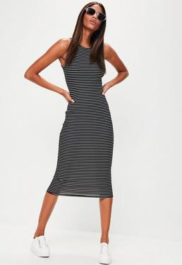 Tall Black Stripe Rib Midi Dress