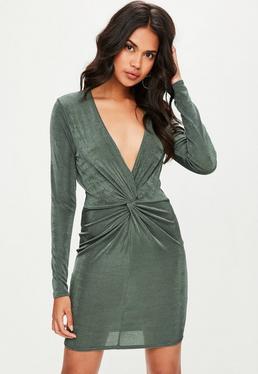 Tall Green Slinky Wrap Dress