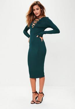 Tall Green Cross Front Midi Dress