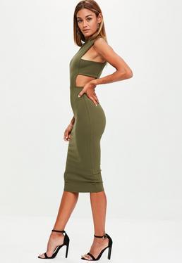 Sukienka w kolorze khaki dla wysokich kobiet