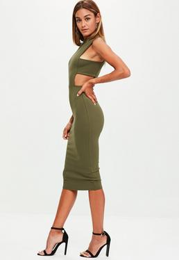 Tall Khaki Tab Side Dress