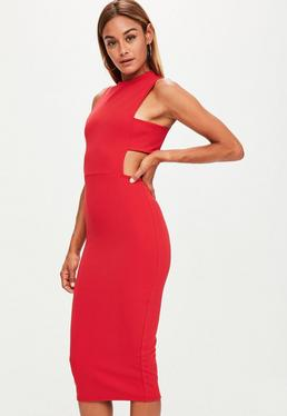 Tall Rotes Bodycon-Midikleid mit Cut-Outs