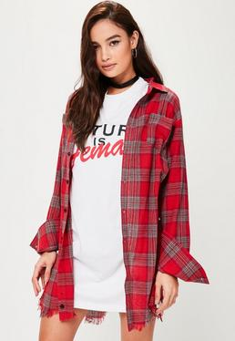 Tall Red Check Shirt Dress