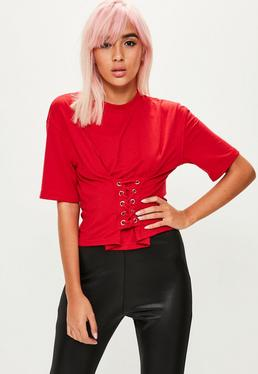 Czerwony T-shirt z gorsetowym wiązaniem dla wysokich kobiet