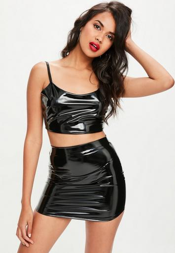 Tall Black Vinyl Mini Skirt Missguided