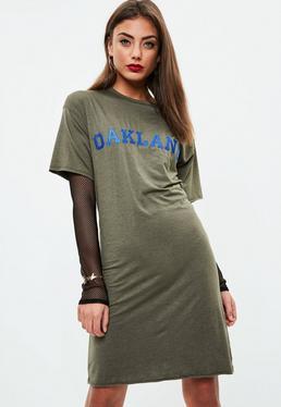 Tall Khaki Lace Up T-shirt Dress