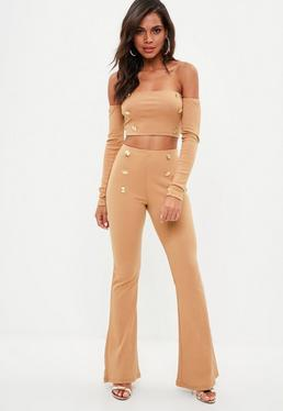 Tall Camel Brown Military Button Flared Trousers