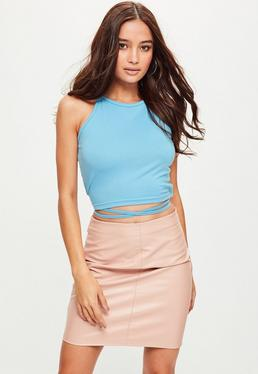 Tall Blue Wrap Around Cropped Top