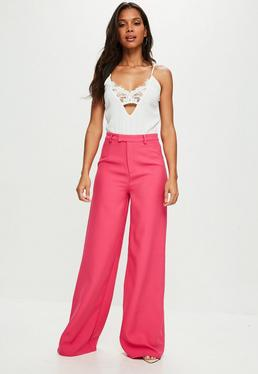 Tall Pink Suit Wide Leg Trousers