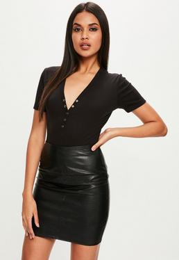 Tall Black Ribbed Popper Bodysuit