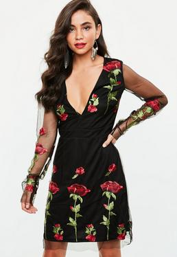 Tall Black Embroidered Mesh Dress