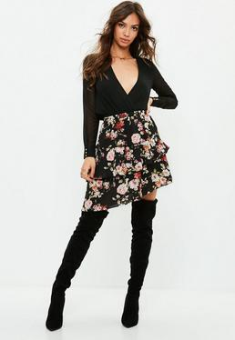 Tall Black Frilled Floral Skirt