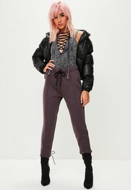 Fioletowe spodnie dresowe dla wysokich kobiet
