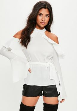 Tall White Cold Shoulder Top