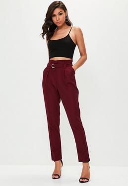 Tall Burgundy Paperbag Cigarette Trousers