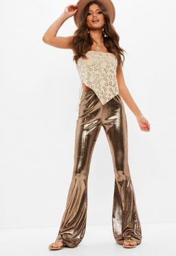 Tall Brown Metallic Flare Pants