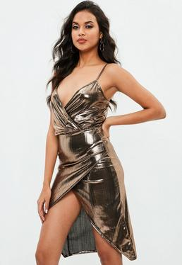 Tall Bronze Metallic Wrap Dress