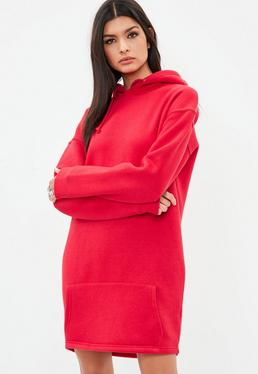 Tall Red Hooded Sweater Dress