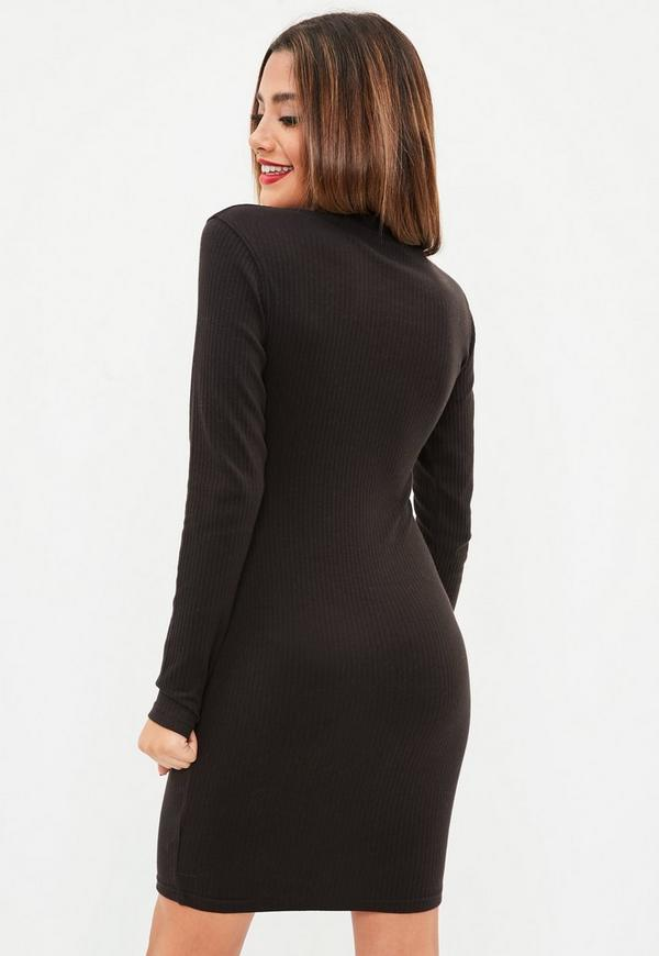 Tall Black Ribbed Roll Neck Dress